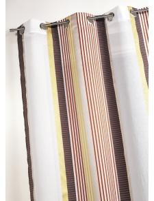 Voilage en étamine à fines rayures verticales colorées