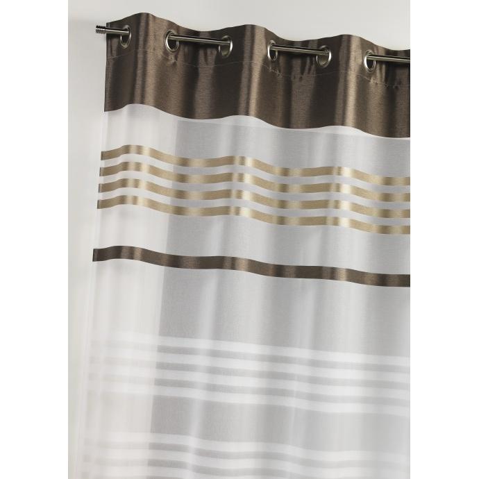 Voilage en étamine légère avec rayures horizontales (Corail)
