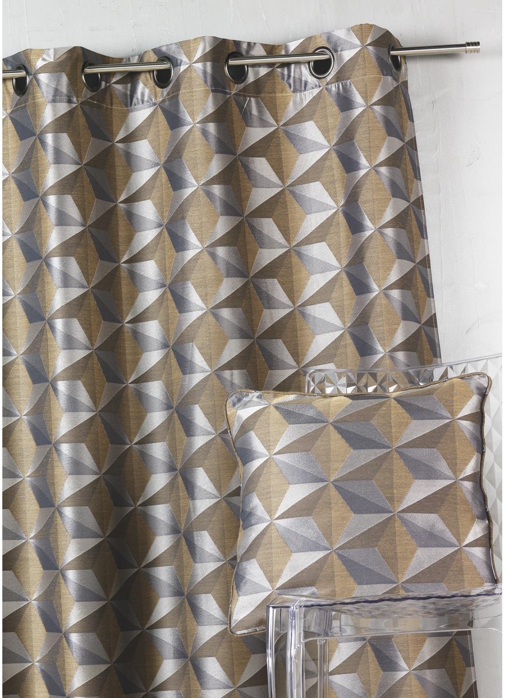 Cortina en jacquard con estampados geométricos (Tabaco)