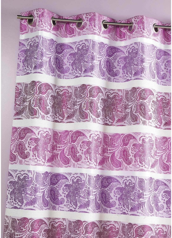 Rideau en jacquard à rayures horizontales fantaisies (Fuchsia)