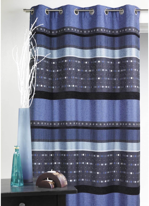 Rideau en jacquard à rayures horizontales graphiques (Bleu)