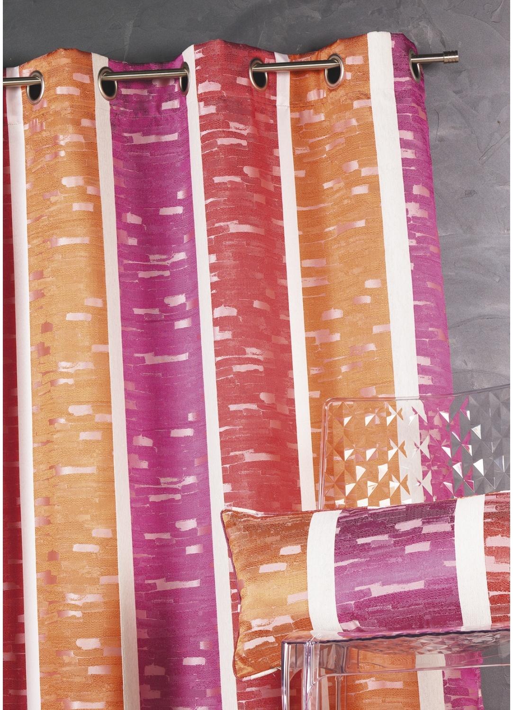 Rideau en jacquard design à rayures verticales (Bordeaux)