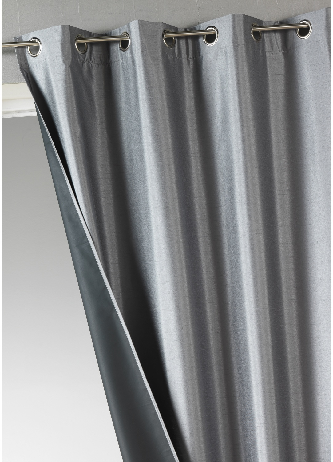 Rideau uni en shantung occultant 3 couches (Anthracite)