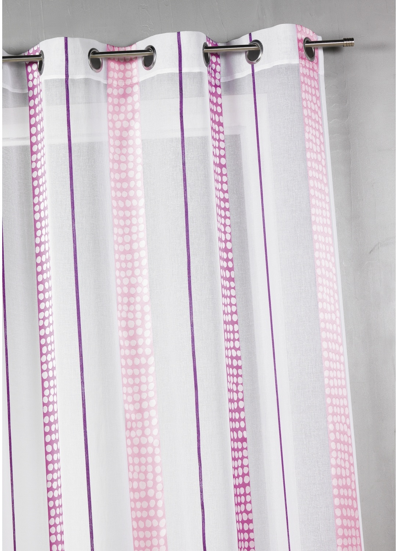 Voilage en étamine à rayures verticales à pois (BABY DOLL)