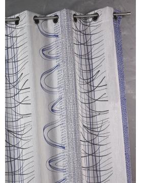 Rideau en jacquard à rayures verticales aux imprimés graphiques