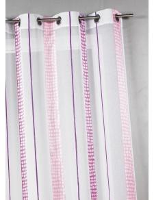 Voilage en étamine à rayures verticales à pois
