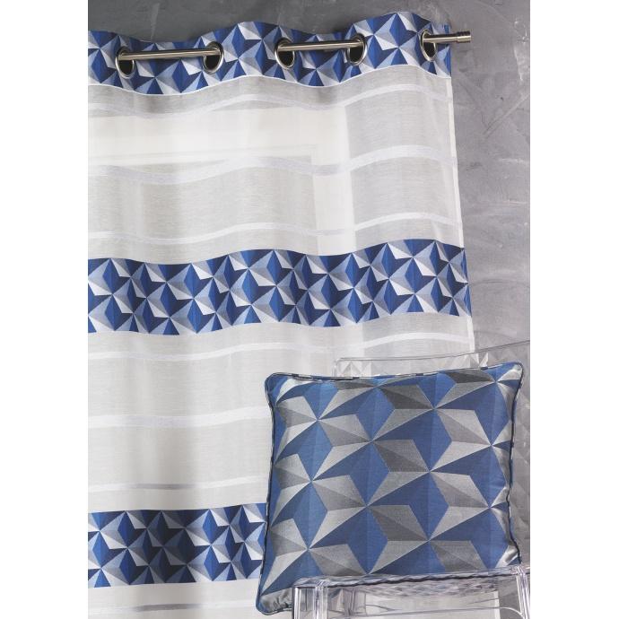 Voilage en jacquard fantaisie à rayures horizontales (Bleu)