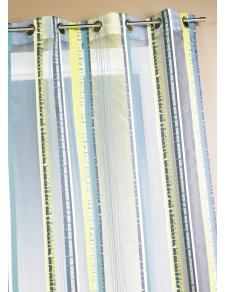 Voilage en organza jacquard à rayures verticales colorées