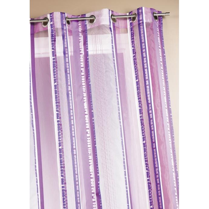 Voilage en organza jacquard à rayures verticales colorées (Prune)