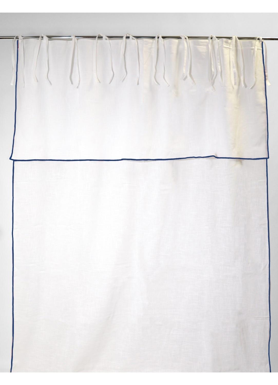 Rideau en Pur Coton à Parement Haut et Nouettes (BLANC/BLEU)