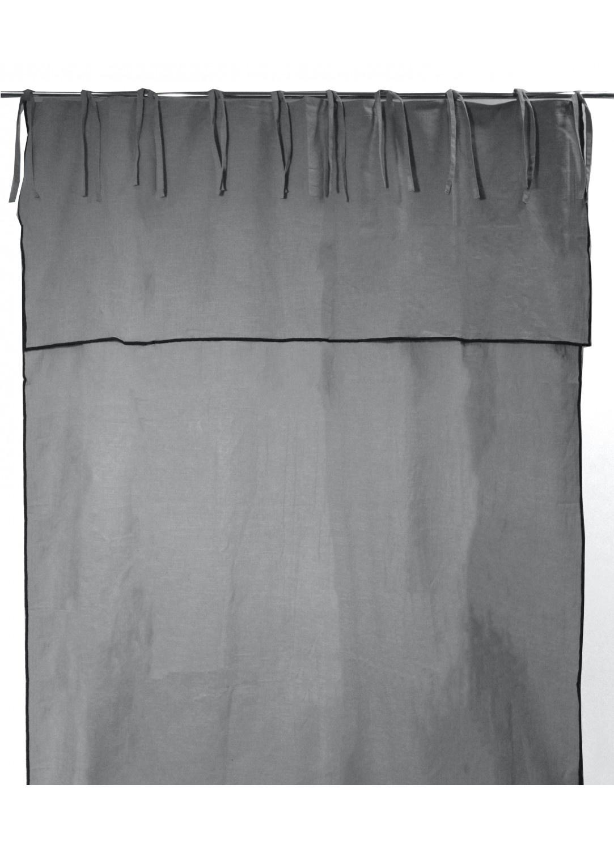 Rideau en Pur Coton à Parement Haut et Nouettes (Gris)