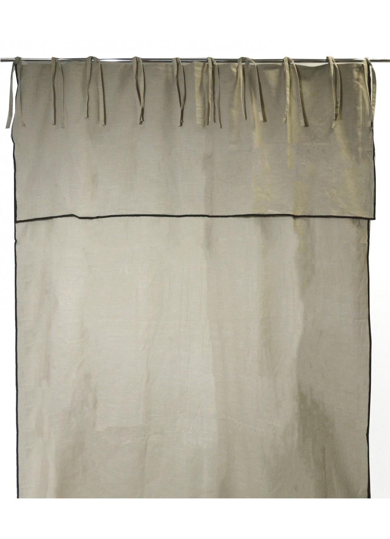 Rideau en Pur Coton à Parement Haut et Nouettes (Lin)