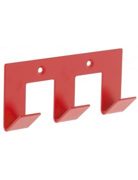 Patère rouge design 3 têtes