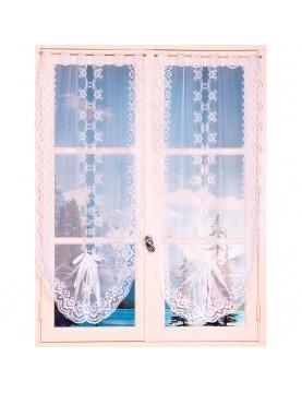 Paire de vitrages festonnés et relevables