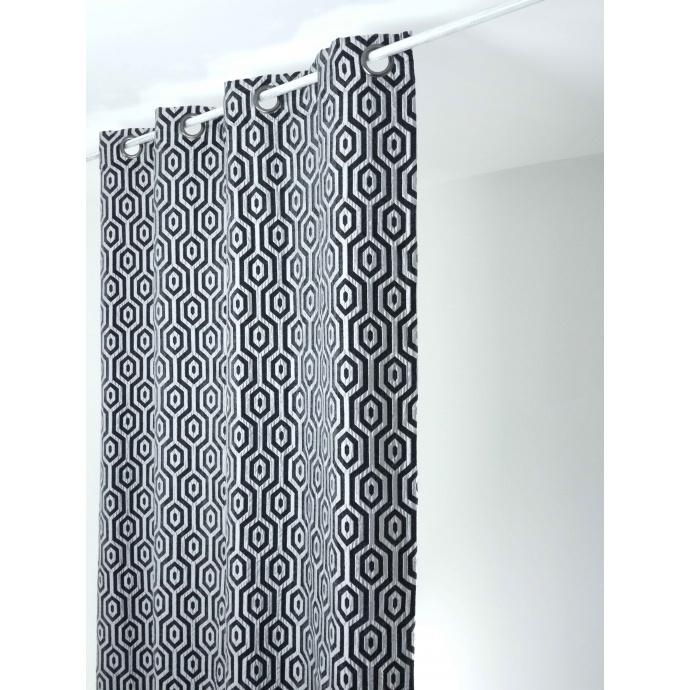 Rideau en jacquard à imprimés géométriques  (noir et gris)