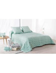 Jeté de lit Boutis Mosaïque bleu + 2 taies d'oreiller