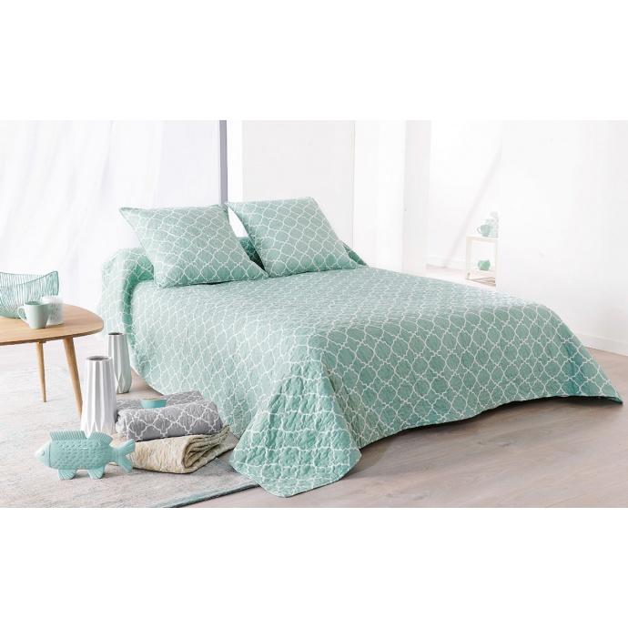 Colcha de cama Boutis Mosáico azul + 2 fundas de cojín