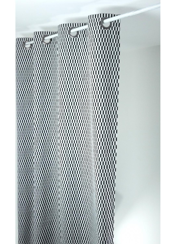 rideau design en jacquard navette noir et blanc. Black Bedroom Furniture Sets. Home Design Ideas