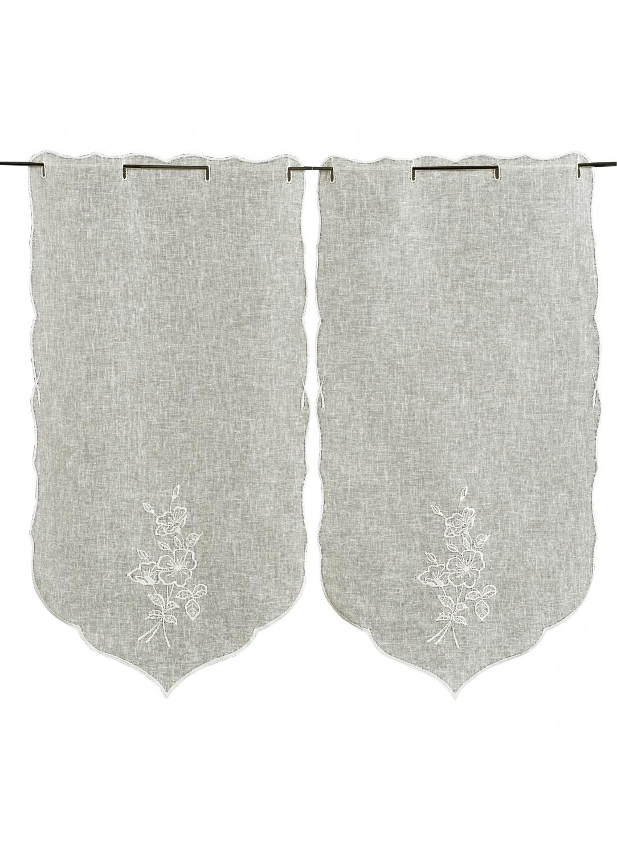 paire de vitrages brod s fleurs ecru homemaison vente en ligne petits voilages vitrages. Black Bedroom Furniture Sets. Home Design Ideas