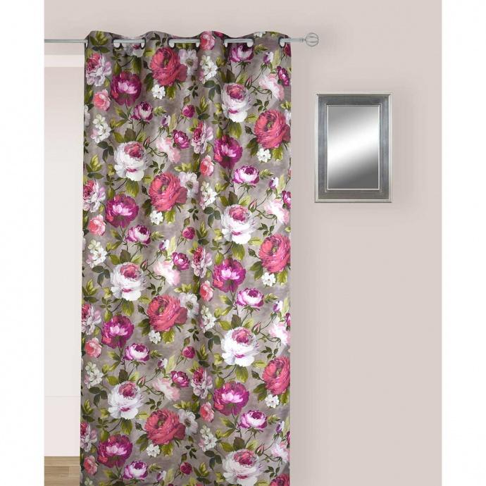Rideau Multicolores en Jacquard aux Motifs Fleuris  (Multicolore avec des tendances de Vert, Brun et Rose)