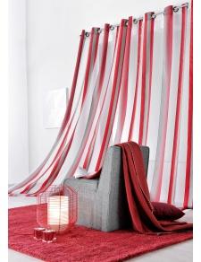 Visillo fantasía con rayas verticales Rojo