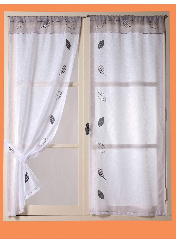 fenstergardine mit bl ttern wei homemaison vente en ligne fenstergardinen. Black Bedroom Furniture Sets. Home Design Ideas