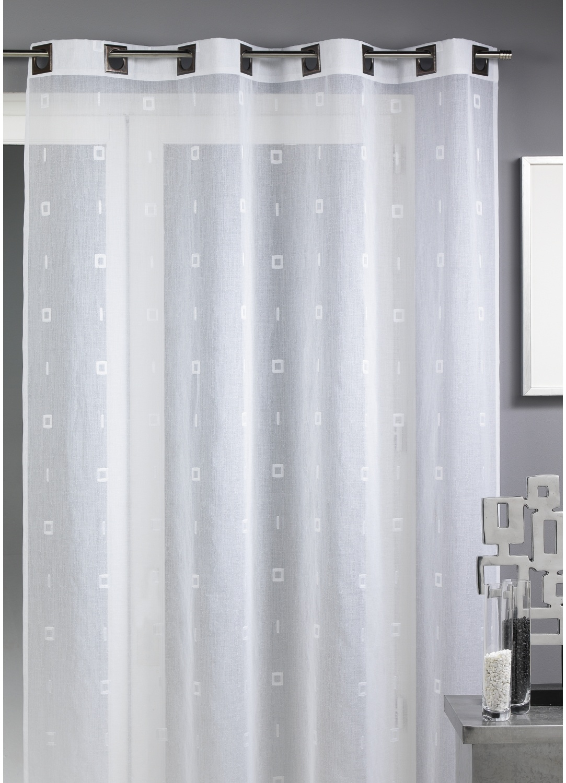 voilage fantaisie tiss blanc homemaison vente en ligne voilages. Black Bedroom Furniture Sets. Home Design Ideas