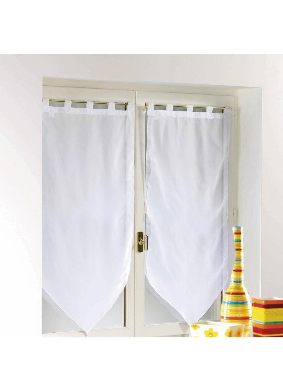 Paire de voilage à pompons unis 60 x 160 cm (Blanc)