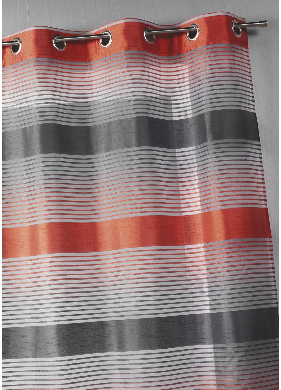 Voilage en organza à rayures horizontales bicolores (Orange)