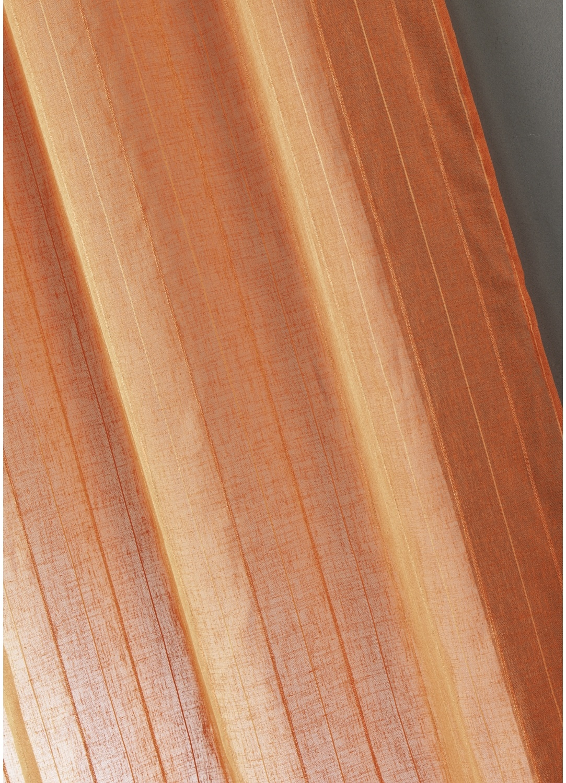 Voilage étamine unie à rayures verticales (Mandarine)