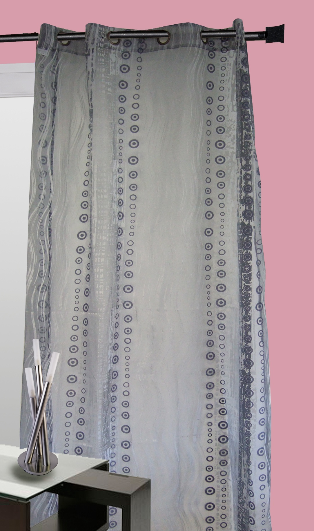 Rideau organza all over motifs fantaisies (Gris)
