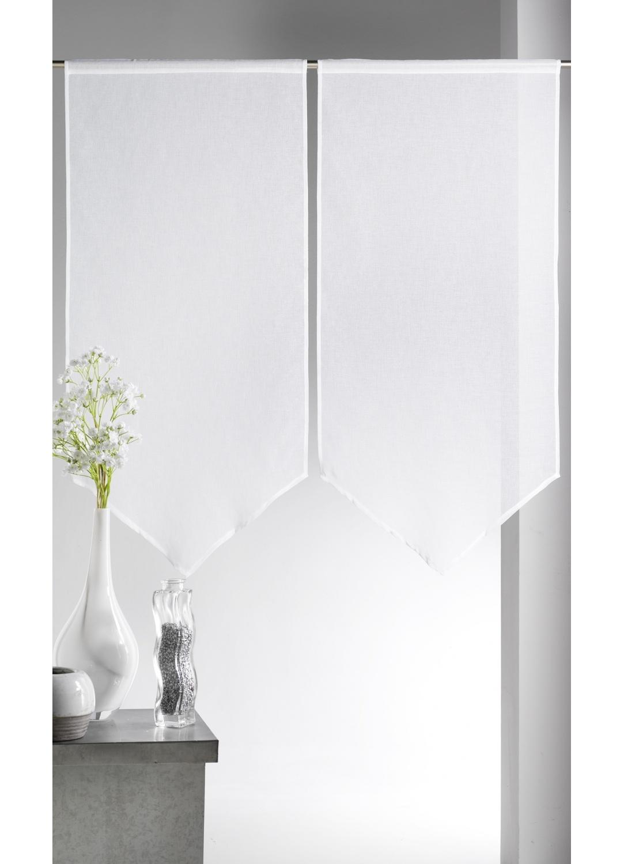 paire de vitrages etamine bas en pointe ivoire lilas bordeaux anis taupe lin. Black Bedroom Furniture Sets. Home Design Ideas