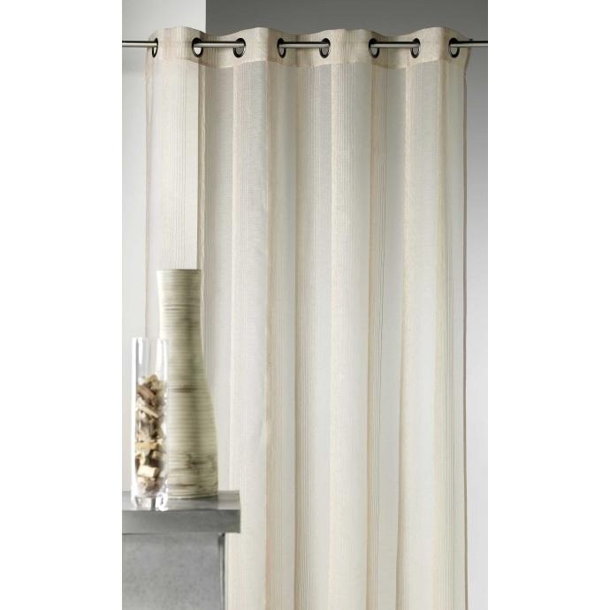 Voilage en étamine à rayures verticales tons sur tons (Lin)