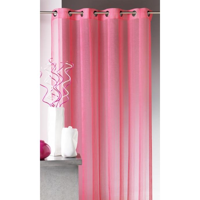 Voilage en étamine à rayures verticales tons sur tons (Rose)