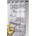 Voilage imprimé Hollywood (blanc / noir)