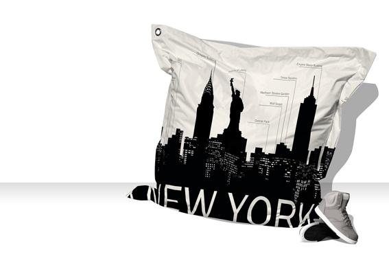Big Coussin New-York Skyline (blanc / gris)