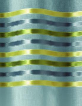 Par de visillos en estameña rayas horizontales