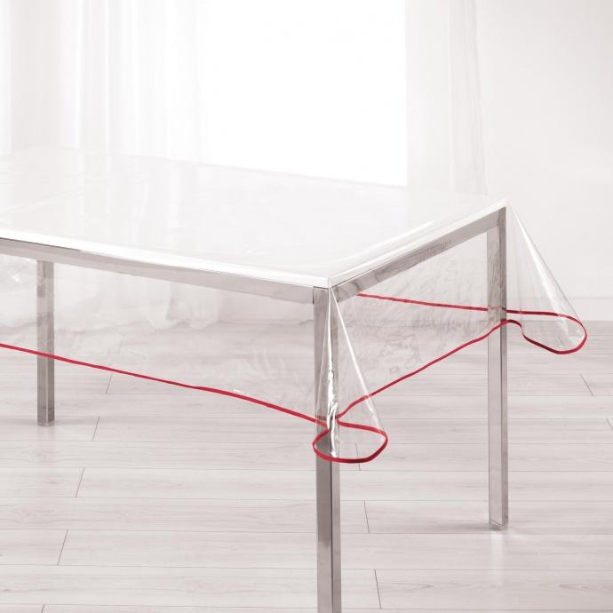 Nappe Rectangulaire PVC Transparent avec Biais Coloré (Rouge)