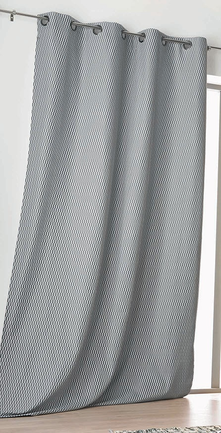 Rideau gris foncé à motifs Géométriques à Effet 3D (Gris fonc?)