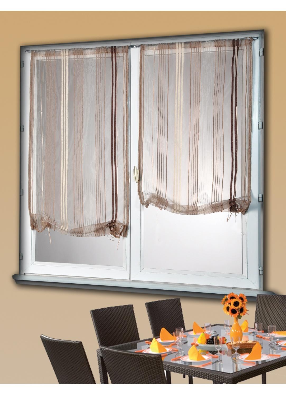 paire de vitrage remonter taupe ivoire gris. Black Bedroom Furniture Sets. Home Design Ideas