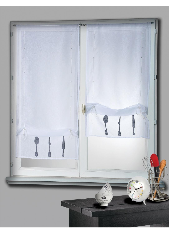 Paire de Vitrage Etamine Blanc à Remonter Motifs Couverts (Blanc)