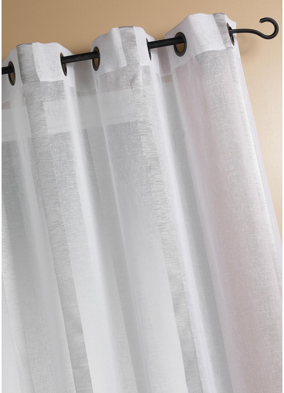Voilage Etamine Rayures verticales (Blanc)