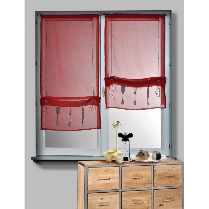 Paire de Vitrage Etamine Rouge à Remonter Motifs Couverts (Rouge)