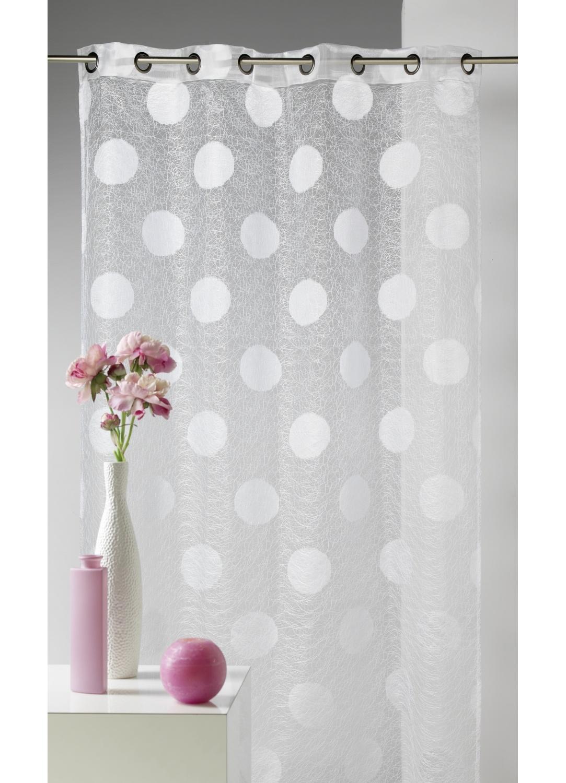 voilage en organza jacquard brod motif gros rond blanc gris homemaison vente en ligne. Black Bedroom Furniture Sets. Home Design Ideas