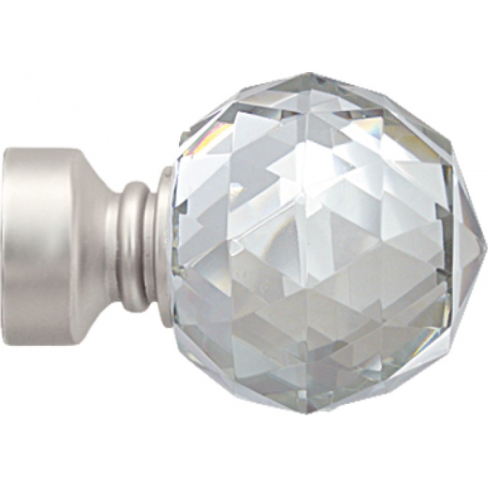 Embout 'Crystal' pour barre Ø 28 mm (Nickel)