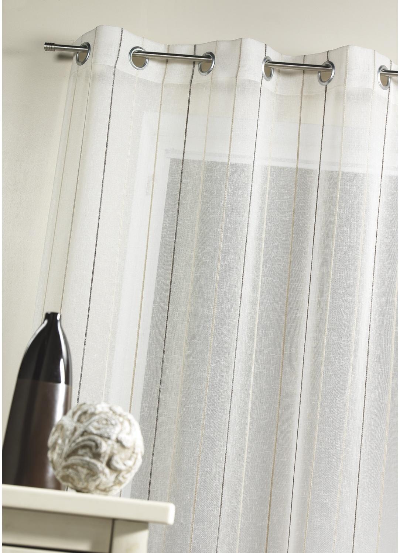 Voilage en étamine tissée à rayures verticales  (Ivoire)
