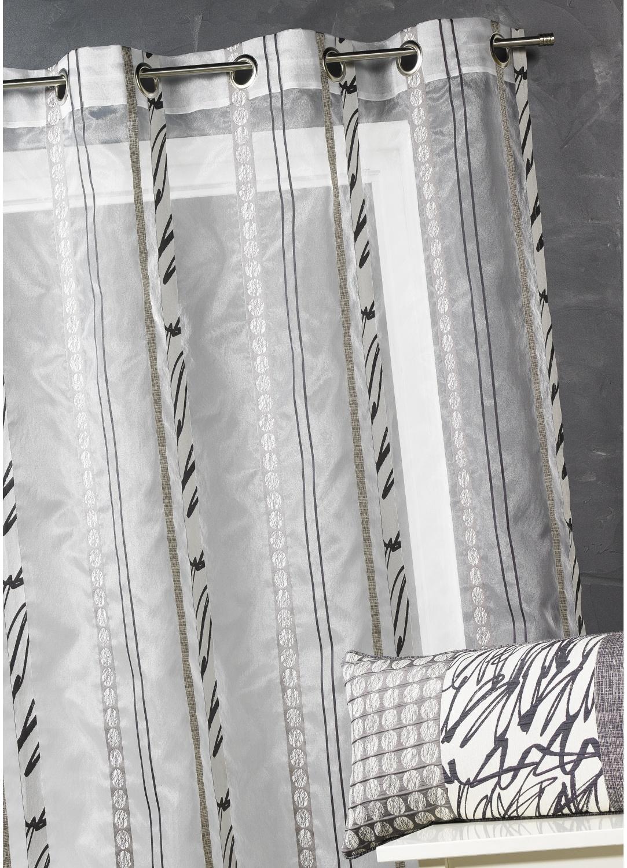 voilage en organza fines rayures z br es gris bleu p trole bambou parme. Black Bedroom Furniture Sets. Home Design Ideas