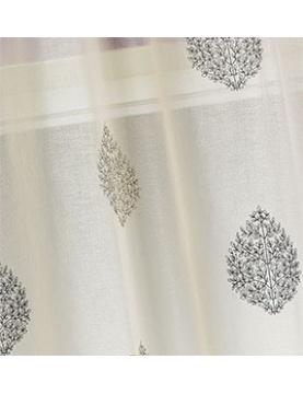 Paire de vitrage en étamine à motifs brodés