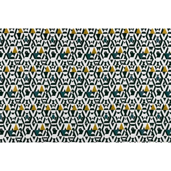 Rideau Imprimé Motifs Géométriques sur Fond Blanc (Jaune)