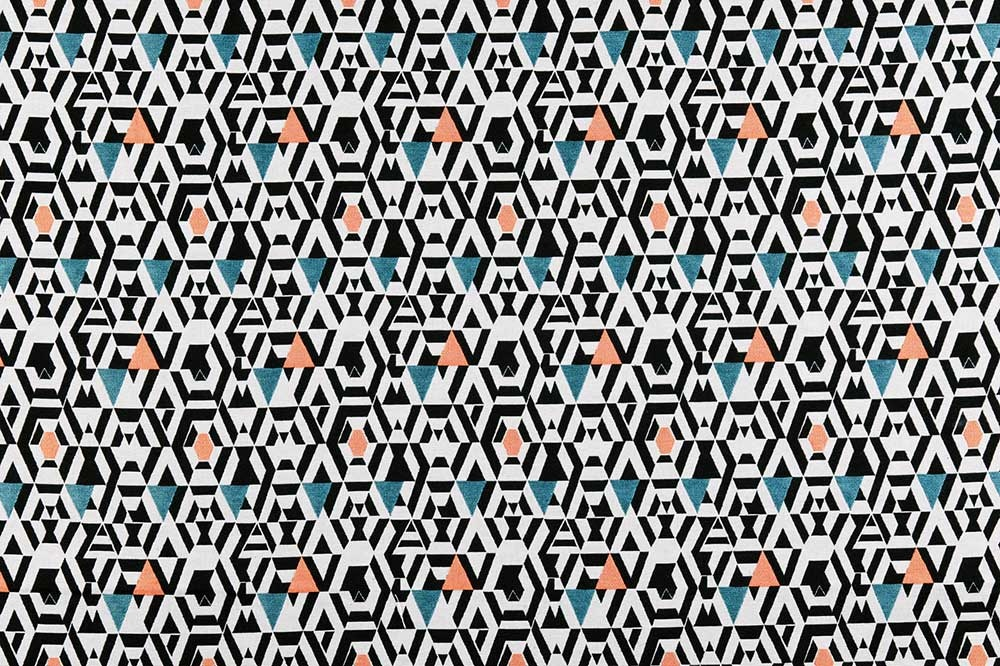 Rideau Imprimé Motifs Géométriques sur Fond Blanc (Orange)
